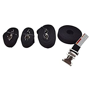 Lashing Straps Multi Length 4 Pack Tie Downs with Thumb, Alligator Clip 2- 6 feet and 2-12 feet (Black)