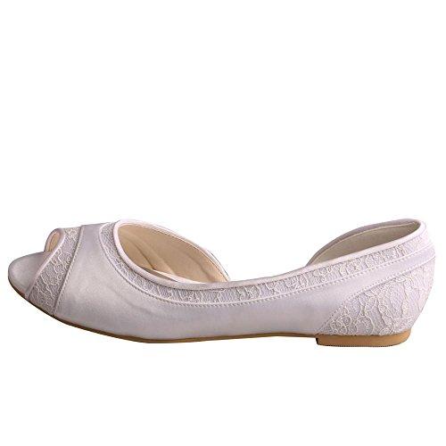 Wedopus Mw060 Dorsay Satén Y Encaje De Punta Abierta Ballet Mujeres Planas Zapatos De Boda Para Novia Blanco
