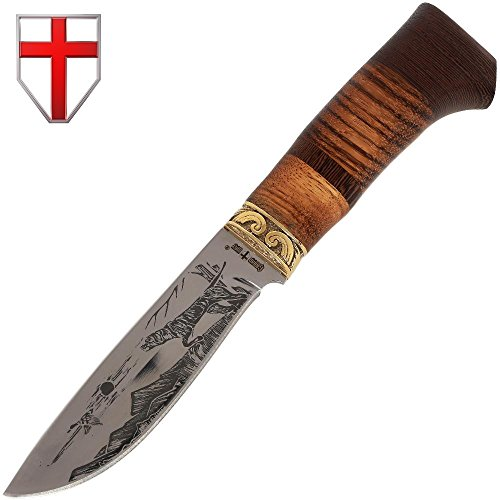 Grand Way Hunting Knife - Decorative Fixed Blade Knife - Classic Stainless Steel Hunting Knife with Wood Handle FB 1022