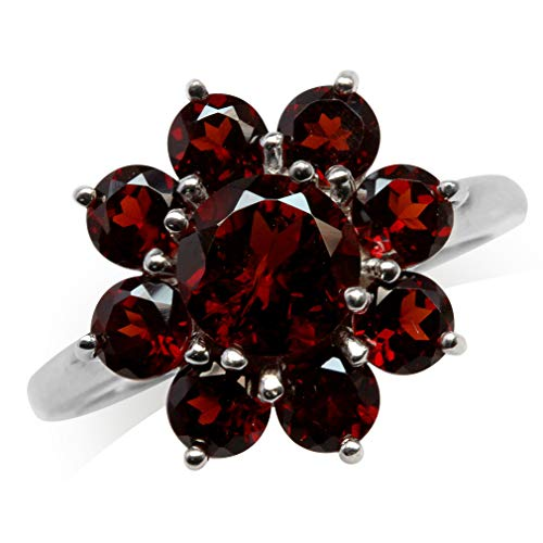 Silvershake 4.22ct. Natural Garnet White Gold Plated 925 Sterling Silver Flower Cluster Ring