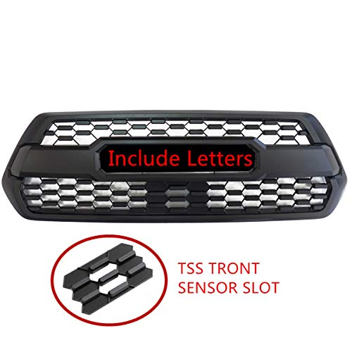 Grill for Toyota Tacoma 2016-2019, Grille Fit for Tacoma 16 17 18 19 ,Including SR SR5 TRD Sport TRD Off-Road Limited TRD PRO-Matte Black with Letters,NEW In Stock Will Fit 2019 TRD Sport with TSS