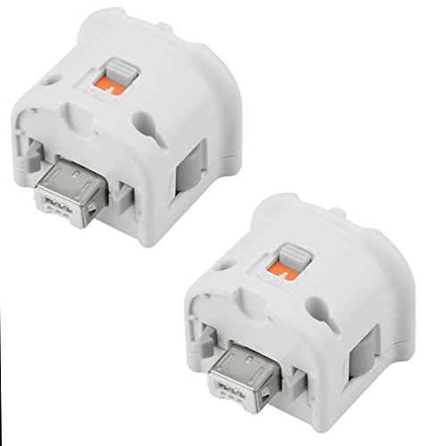 REDGO 2X Motion Plus Adapter Sensor for Nintendo Wii Wii U Remote Controller White (White Attachment)