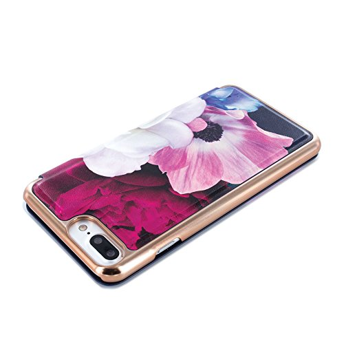 Official TED BAKER® SS17 Fashion Branded Mirror Folio Case for iPhone 7 Plus, Protective High Quality Wallet iPhone 7 Plus Cover for Professional Women - CANDANCE - Blushing Bouquet