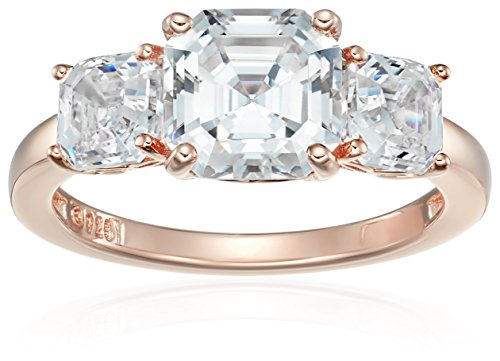 Rose Gold-Plated Sterling Silver Swarovski Zirconia Asscher-Cut 3-Stone Anniversary Ring, Size 6