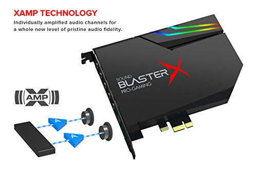 41YrHmz 5sL - Sound BlasterX AE-5 Hi-Resolution PCIe Gaming Sound Card and DAC with RGB Aurora Lighting System (Black)