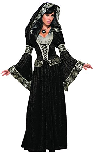 Faerynicethings Adult Dark Sorceress Costume - Voodoo Priestess - Skull Print Trim - Fits 14-16