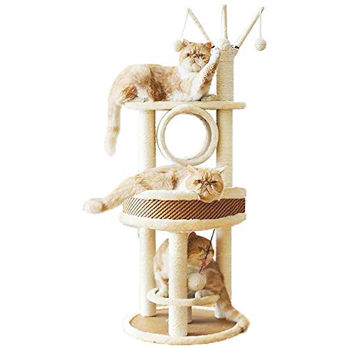 Multi-Level Cat Tree Tough Rattan Cat Tower for Activity with Big Cat Nest,Cat Tree Branch Tunnel,Cat Scratching Post…