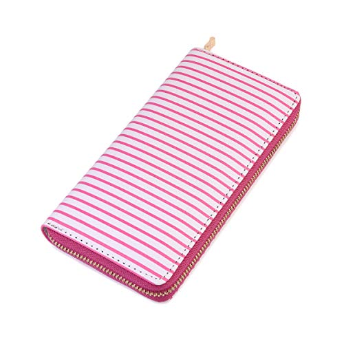 Geometric Print Zip Around Wallet - Card Phone Slot Zipper Purse Chevron, Checker, Mandala, Camo, Stripe, American Flag (Stripe - Hot Pink)