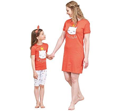 Personalized Girls Nightgown (IF Family Women's Nightgown Cotton Sleep Dress Scoopneck Short Sleeve Sleepwear L)