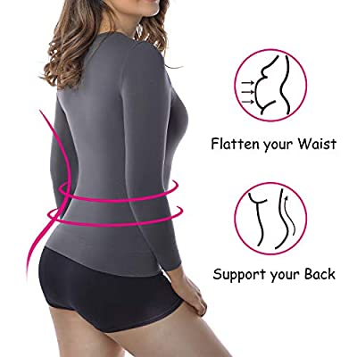 +MD Womens Compression Slimming Shirt 3/4 Long Sleeve Undershirts Round-Neck Basic Shapewear Thermal Tops at Women's Clothing store