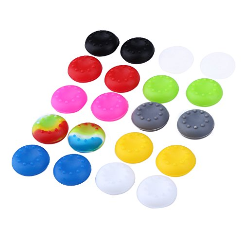 Price comparison product image ttnight 20pcs Multi-Colored Rubber Silicone Thumb Stick Grips Cap for PS4 PS3 PS2 Xbox 360 ONE Controller 0.78x0.78inch