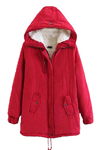 H&E Womens Winter Hooded Wool Lined Fleece Military Anorak Parkas Jacket Red