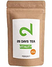 DUAL Vitality - 28 Days Multivitamin Tea|100% Natural Fruit Tea |100g Loose Leaf Vitamin Tea|Lemon & Goji Berry Herbal Tea| Without Additives & Sugar|Vitamin Enriched & Vegan|Certified|Made in Germany
