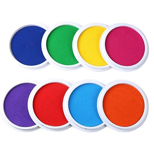 (MoloTAR Craft Large Ink Pad Stamps Partner Diy Color,8 Colors Rainbow Finger Ink pad for kids (pack of 8))