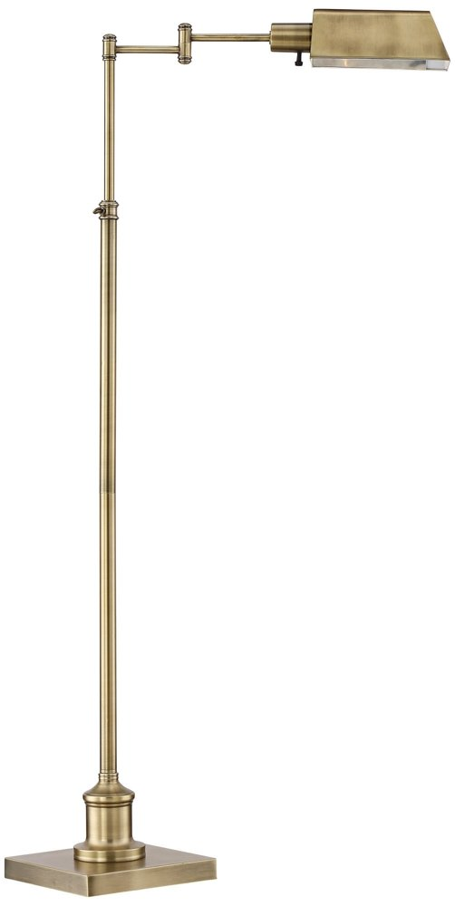 "Jenson Modern Pharmacy Floor Lamp Aged Brass Adjustable Swing Arm Metal Shade for Living Room Reading Bedroom Office - Regency Hill - Adjustable from 44"" to 54"" high. Base is 9"" wide. Shade is 8"" wide x 5 1/2"" deep x 3 1/4"" high. From center pole to outside edge of shade is 20"". Weighs 13 lbs. Uses one maximum 60 watt standard-medium base bulb (not included). On-off switch on lamp head. Traditional pharmacy floor lamp from the Regency Hill brand. - lamps, bedroom-decor, bedroom - 41YrIcQ0iEL -"