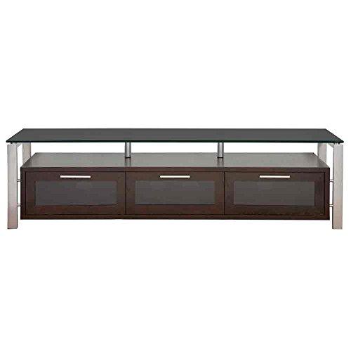 Plateau DECOR 71 ES BG Wood and Glass TV Stand, 71-Inch, Espresso Finish -