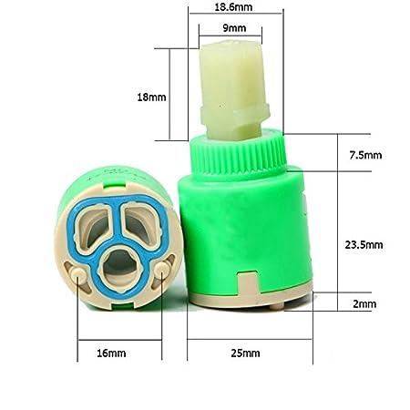 Wovier Replacement Single Handle Faucet Cartridge Ceramic Disc Valve 25mm Diameter 2 Pcs