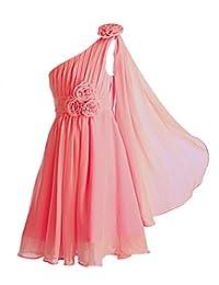 Fashion Plaza Girl's One Shoulder Chiffon Bridesmaid Flower Girl Dress K0110