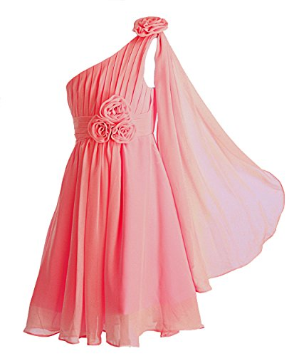 FAIRY COUPLE Big Girl's A-line One Shoulder Rosette Short Flower Girl Dress K0110 12 Coral (Teen Christmas Dress)
