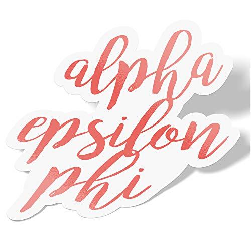 Desert Cactus Alpha Epsilon Phi Cursive Word Sticker Decal Greek for Window Laptop Computer Car A E Phi (Coral)