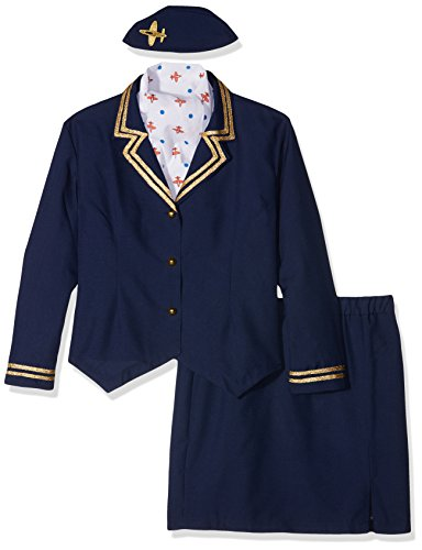 Flight Attendant Costume Uk (Smiffy's Women's Airways Attendant Costume, Jacket, Skirt, Scarf and Hat, Icons and Idols, Serious Fun, Plus Size 18-20, 43878)