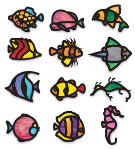 Roylco Stained Glass Frames, 8 x 10 Inches, Tropical Fish, 24 Pieces