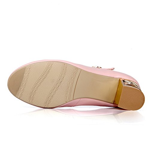 BalaMasa Girls T Strap Electroplate Heel Studded Rhinestones Metal Buckles Patent Leather Pumps-Shoes Pink qlS1pkix