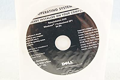 Dell Reinstallation DVD Windows 7 Professional SP1 64-Bit PC Computer Program Driver Media Software Operating System P/N# D0V2K - Sealed New