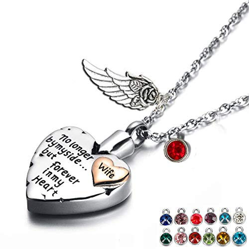 PREKIAR Heart Cremation Urn Necklace for Ashes Angel Wing Jewelry Memorial Pendant and 12 PCS Birthstones No Longer by My Side But Forever in My Heart (Wife) ()
