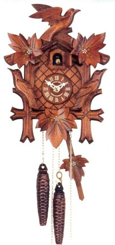 Quartz Movement Cuckoo Clock with Hand Painted Flowers 11 Inch