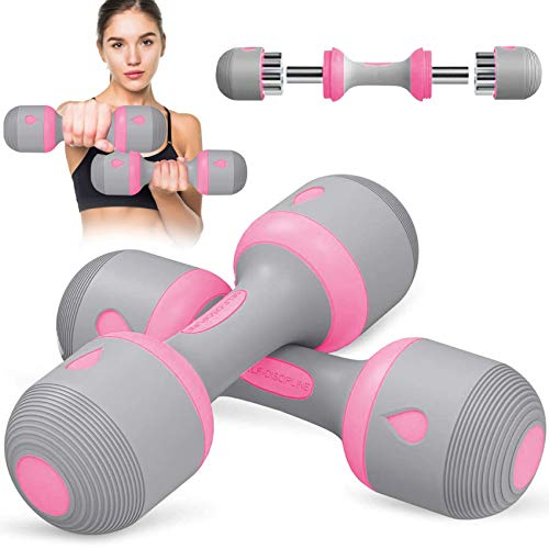 INVIGALUX Adjustable Dumbbell Weight Set – 5-in-1 Dumbbell Set with Non-Slip Neoprene Handles – Multipurpose Weights…