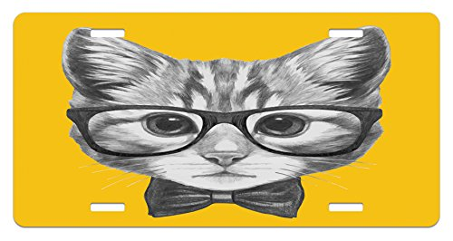Ambesonne Animal License Plate, Sketchy Hand Drawn Design Baby Hipster Cat Cute Kitten with Glasses Image Print, High Gloss Aluminum Novelty Plate, 5.88 L X 11.88 W Inches, Grey Mustard