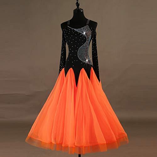 Cristaux Performance Orange Jupe Stage Costume Wqwlf Bretelles Danse Femmes xl Strass Formation Salle De Bal Robes Organza À Manches Longues Valse Moderne wxfxRBq0P