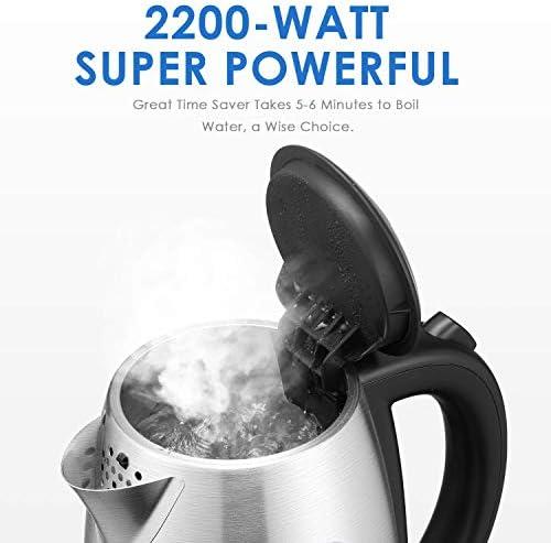 Bouilloire Électrique DEIK Bouilloire Électrique Inox Avec Thermostat Strix, 2200W Rapide pour le Thé, Auto Arrêt, Bouilloire Sans BPA, Filtre Anticalcaire, Niveau Eau Visible, Poignée Cool Touch