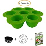 Egg Bites Mold Silicone With Lid + Stainless Steel Egg Steamer Rack Stackable + 7inch Cake Pan Mold Insert Pans for 5 6 8 Quart + FREE Recipes Ebook - 4 Pieces Set Accessories for Instant Pot