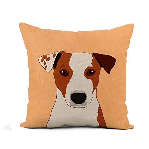 Awowee Flax Throw Pillow Cover Colorful Face Jack Russell Terrier The Buddy Dog Head 18x18 Inches Pillowcase Home Decor Square Cotton Linen Pillow Case Cushion Cover