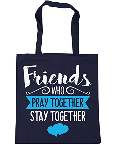 HippoWarehouse amigos que rezar juntos permanecer juntos Tote Compras Bolsa de playa 42cm x38cm, 10litros azul marino