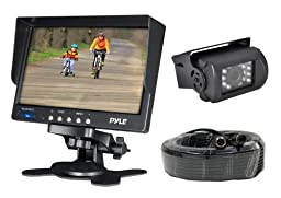 Pyle PLCMTR71 Weatherproof Rearview Backup Camera System Kit with 7'' LCD Color Monitor, IR Night Vision Camera, Dual DC Voltage 12-24 for Bus, Truck, Trailer, Van