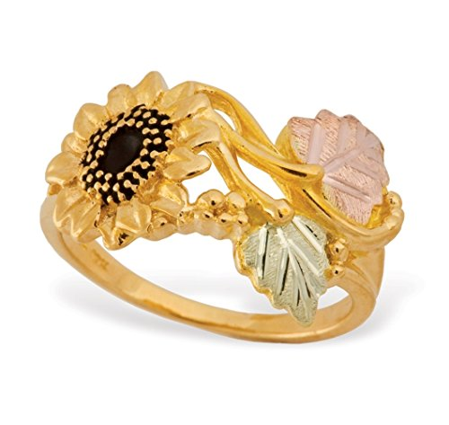 Antiqued Sunflower Ring, 10k Yellow Gold, 12k Green and Rose Gold Black Hills Gold Motif, Size 9 by Black Hills Gold Jewelry