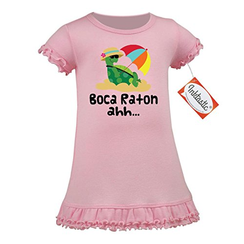 Inktastic Baby Girls' Boca Raton Florida A-Line Baby Dress 12 Months Baby Pink