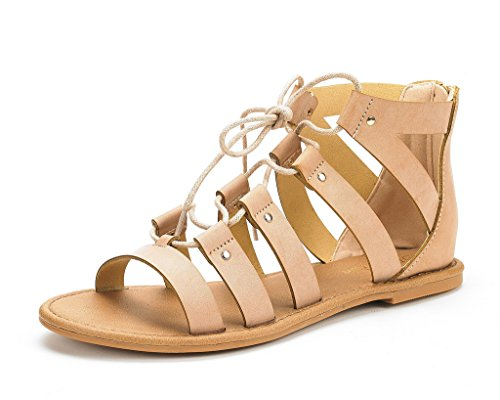 DREAM PAIRS Women's Arizona Nude Pu Ankle Strap Gladiator Flat Sandals - 5.5 M US -