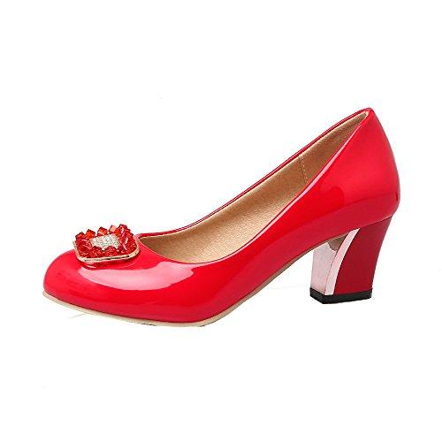 Sin Mujeres Tacón Sólido Gmxdb006665 Rojo De Agoolar Zapatos Cordones aR5waqd