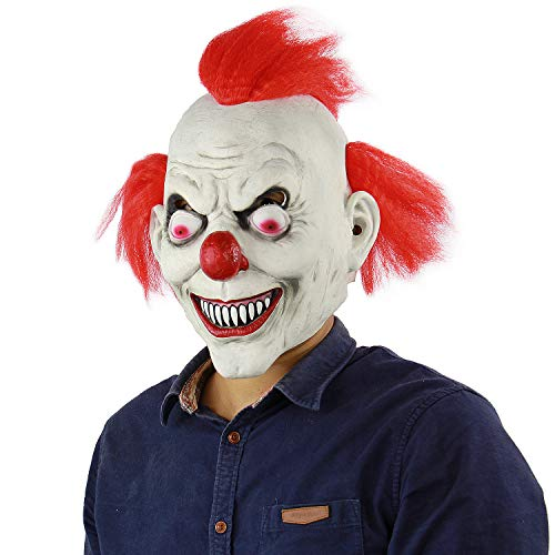 Evil Clown Killer Mask Halloween Masquerade Costume Props Adult Latex Horror Villains Mask -