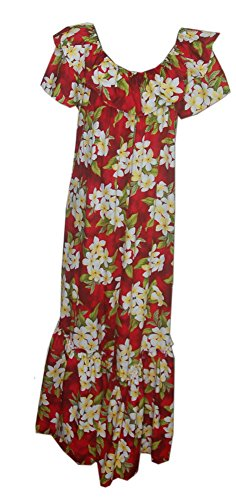 Jade Fashions Inc.. Women Hawaiian Long Double Ruffle Red Plumeria Muumuu-Red-3XL ()