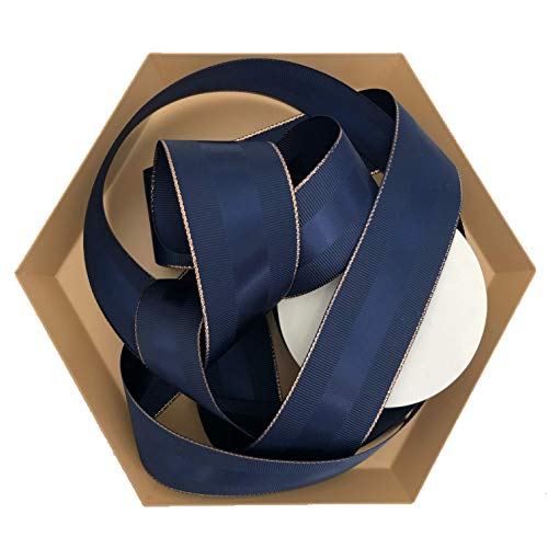 - Navy Blue Grosgrain Ribbon with Rose Gold Border, 1.5 Inch, 10 Yards Per Roll, Copper Trim, Double Face, 1 1/2 Inch, Finely Woven Premium Fabric Ribbon for Corporate Gifts, Men's Gifts, Flower Bouquet