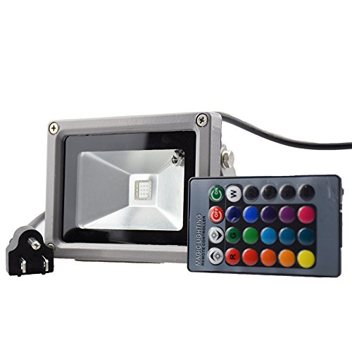 BoJia 10 Watt Outdoor Remote Control LED Flood Light, Wide Version LED light , RBG Super Bright Light ,Waterproof Light (16 Different Color Tones)