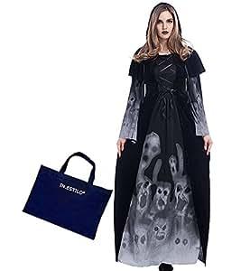 Ghost patterned robe costume men women peaked Medieval Gothic style costumes IN-ESTILR bag vampire demon monks Reaper costume Halloween witch fancy dress (women (women))