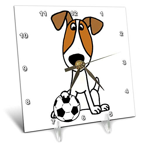 3dRose All Smiles Art - Pets - Cute Funny Jack Russell Terrier Puppy Dog Playing Soccer - 6x6 Desk Clock (dc_291129_1) by 3dRose