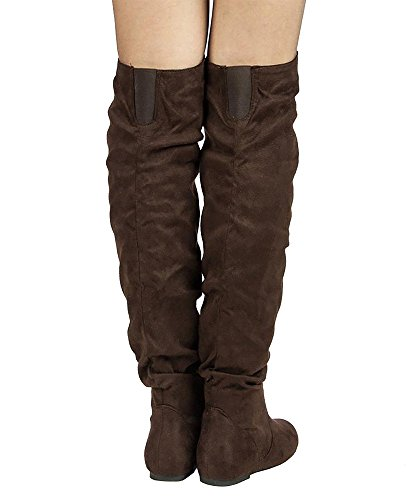 ROF by Suede Hi ROOM Low Heel Flat TREND Thigh FASHION OF Boots Knee Brown K Shaft Slouchy the Over Women's Premium High rqA6Cr