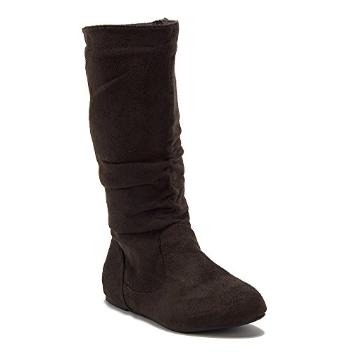 Bella Tall Boot - New Little Girls Bella-9 Slouchy Zipped Tall Winter Fashion Boots, Brown, 2